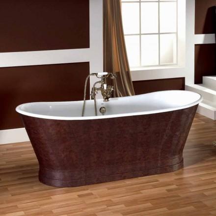 Banheira de ferro fundido vintage com capa de couro Elsie
