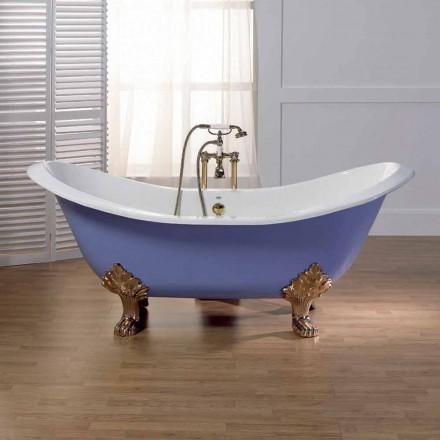 Banheira esmaltada e pintada de ferro fundido com pés Lane vintage