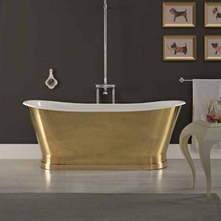 Banheira de ferro fundido design com tampa em latão Roy vintage