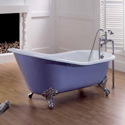 Banheira de design vintage em ferro fundido pintado com pés decorados Carrie