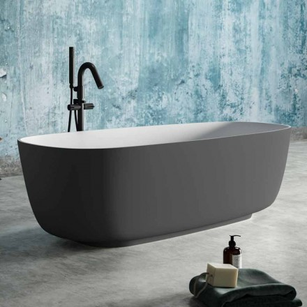 Banheira autônoma de duas cores cinza, em Solid Surface - Canossa
