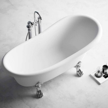 Banheira de pé livre, design vitoriano em superfície sólida - chuva