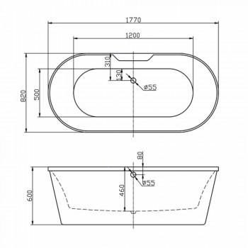 Banheira autônoma branca de acrílico 1770x820 mm de junho, design moderno