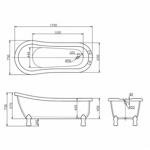 Banheira autônoma de design moderno em acrílico branco Dawn 1700x750mm