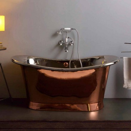 Banheira autônoma de design vintage com acabamento em níquel e cobre Angelica