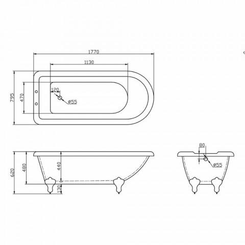 Banheira autônoma design em acrílico branco 1770x795 mm