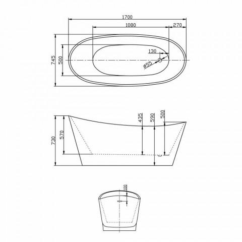 Banheira autônoma acrílica branca do projeto moderno de Nataly, 1700x745mm