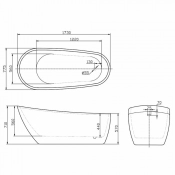 Banheira autônoma moderna em acrílico branco 1730x775 mm Abbie