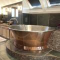 Banheira autônoma redonda vintage em cobre, banhada a ferro branco Vanessa