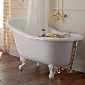 Banheira autônoma vintage em ferro fundido branco fabricado em Itália - Paulina