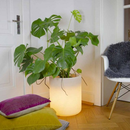 Vaso com Iluminação Solar ou Design Led para Interior ou Exterior - Cilindrostar
