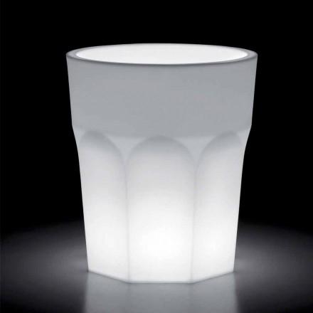 Vaso decorativo de polietileno brilhante com luz LED Made in Italy - Pucca