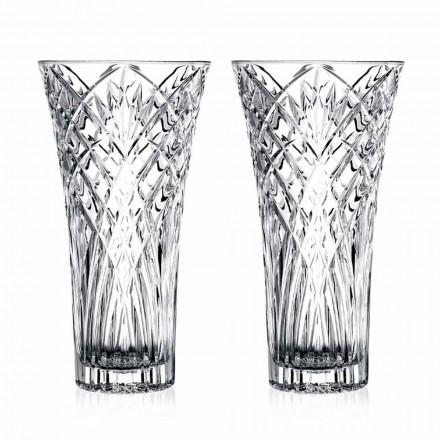 Vaso de Design Vintage em Cristal Ecológico Transparente 2 Peças - Cantabile