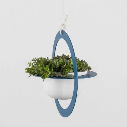 Vaso de flores suspenso em aço e cerâmica made in Italy - Leotta