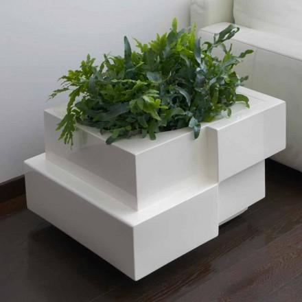 Vaso decorativo para exterior / interior sobre rodas Slide Cubic Yo, fabricado em Itália