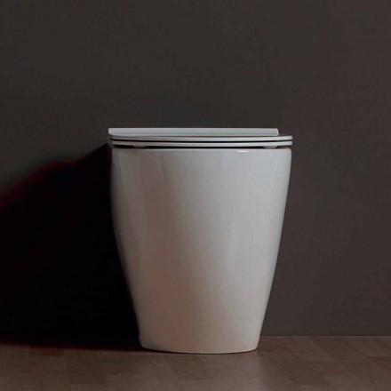 Vaso vaso de cerâmica branca moderna Shine Square Rimless, made in Italy