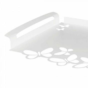 Bandeja de servir em ferro branco, bege ou marfim, fabricada na Itália - Leiden