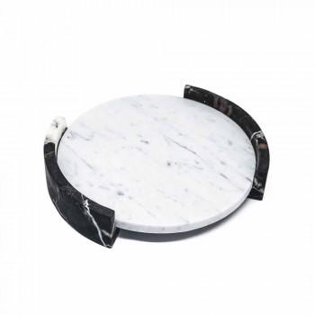 Bandeja redonda moderna em mármore branco de Carrara fabricado na Itália - Chet