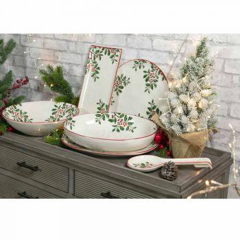 Bandeja de Natal Prato oval de porcelana 2 peças - vassoura de açougueiro