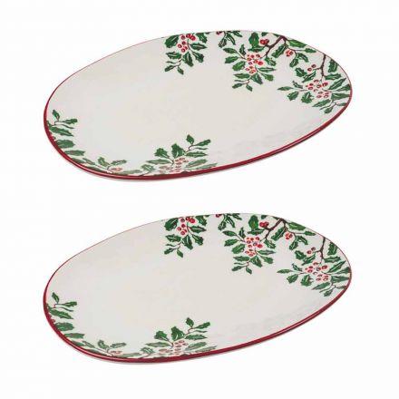 Bandeja de Natal ou Prato Oval em Porcelana 2 Peças - Pungitopo