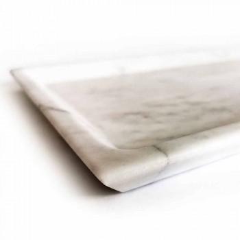 Bandeja Retangular em Mármore Carrara Branco Polido Fabricado na Itália - Alga