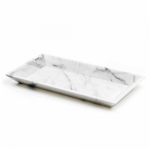 Bandeja retangular em mármore branco de Carrara fabricado na Itália - Vassili