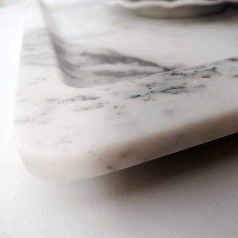 Bandeja retangular em mármore branco com veios modernos fabricado na Itália - Stora
