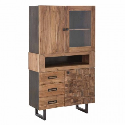 Expositor moderno com gavetas e portas, ferro, vidro e madeira de acácia - Dianna