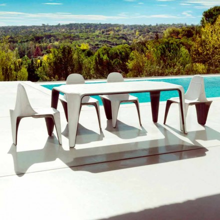 Mesa ao ar livre Vondom F3 em polietileno 190x90 cm, design contemporâneo