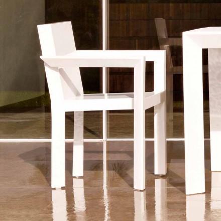 Cadeira de jardim Vondom Frame com braços em polietileno, design moderno, 2 pedaços