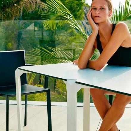 Vondom Quartz mesa de jantar quadrada ao ar livre, design moderno, 2 pedaços