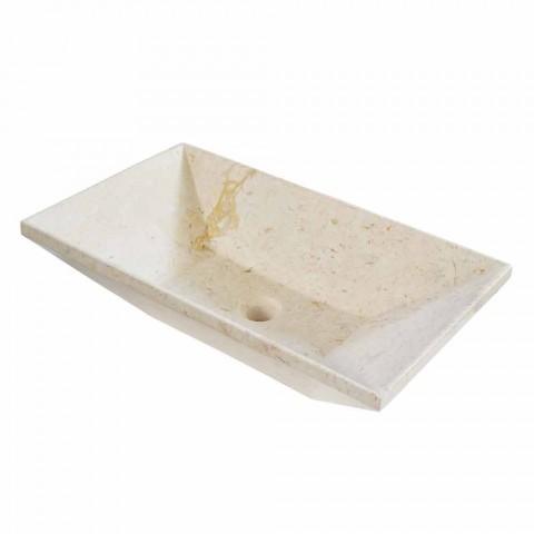 Lavatório de bancada wok em mármore design, forma trapezoidal